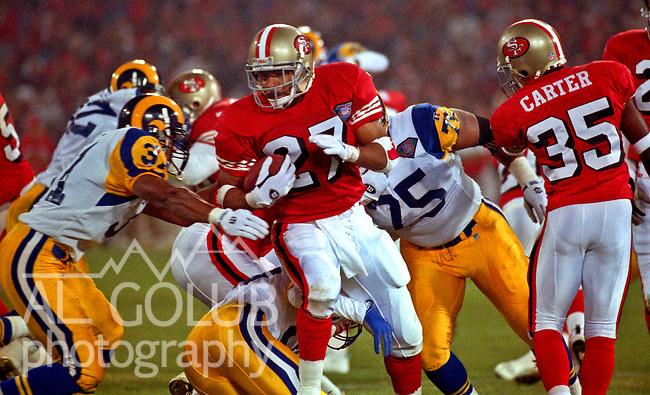 San Francisco 49ers vs. Los Angles Rams at Candlestick Park Sunday, November 20, 1994.  49ers beat Rams 31-27.  San Francisco running back Adam Walker (27).