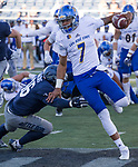 San Jose State quarterback Montel Aaron jumps away from Nevada defensive back Anthony Hankins in the second half of an NCAA college football game in Reno, Nev. Saturday, Nov. 11, 2017. (AP Photo/Tom R. Smedes)