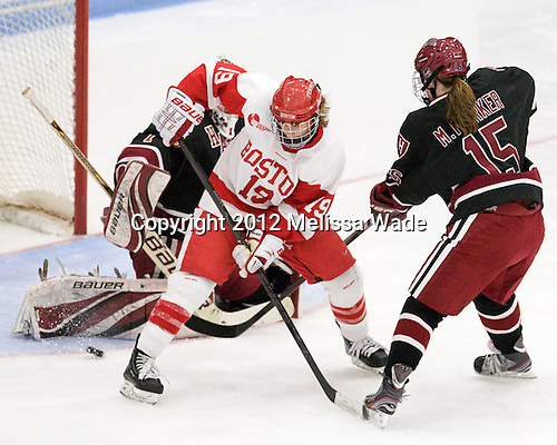 (Bellamy) Jenelle Kohanchuk (BU - 19), Mary Parker (Harvard - 15) - The Boston University Terriers defeated the visiting Harvard University Crimson 2-1 on Sunday, November 18, 2012, at Walter Brown Arena in Boston, Massachusetts.