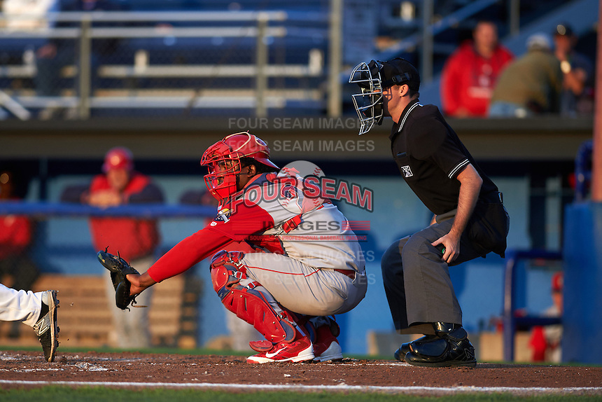 Williamsport Crosscutters catcher Jesus Posso (28) and umpire Brandin Sheeler during a game against the Batavia Muckdogs on August 27, 2015 at Dwyer Stadium in Batavia, New York.  Batavia defeated Williamsport 3-2.  (Mike Janes/Four Seam Images)