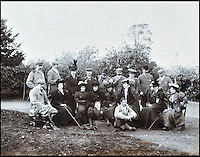 BNPS.co.uk (01202 558833)<br /> Pic: Lawrences/BNPS<br /> <br /> A shooting party, with the 5th Earl of Carnarvon seated at the front on the right.<br /> <br /> An intimate set of portraits of the real Downton Abbey which include the visit of the future king have been unearthed after more than 120 years.<br /> <br /> The magnificent 19th century Highclere Castle, in Hampshire, was home to George Herbert, fifth Earl of Carnarvon, and his wife Almina Herbert in the late 19th and early 20th century.<br /> <br /> The album, which is up for auction, contains 44 large mounted photographs of the house, staff and estate of Highclere in 1895.<br /> <br /> Included are images of Carnarvon with his wife Almina, various shooting parties including one involving Prince Edward (the future Edward VII) and the house staff.