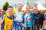Francie Brosnan, Keith McCarthy, Mary Nolan and Mikey Hickey celebrate after finishing the Ring of Kerry cycle in Killarney on Saturday