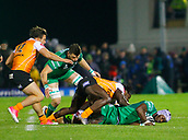 4th November 2017, Galway Sportsground, Galway, Ireland; Guinness Pro14 rugby, Connacht versus Cheetahs; Niyi Adeolokunr (Connacht) is taken to ground by Luther Obi (Toyota Cheetahs) as Eoghan Masterson and Nico Lee close in