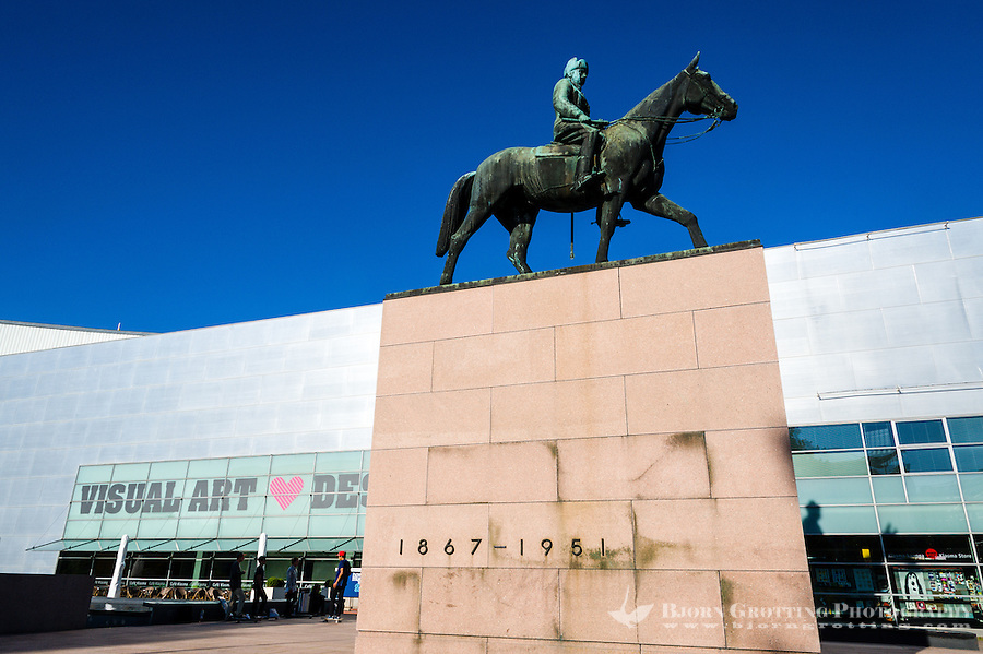 Finland, Helsinki. Statue of Marshal Mannerheim outside Kiasma.