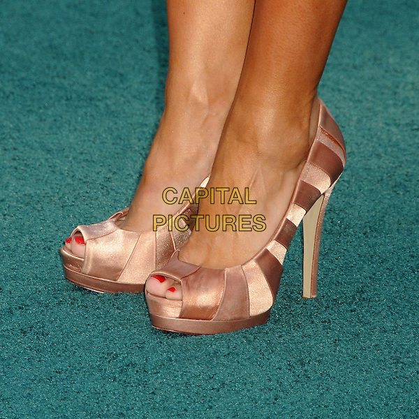 "Karina Smirnoff's shoes.""Zookeeper"" Los Angeles Premiere held at the Regency Village Theatre, Westwood, California, USA..July 6th, 2011.detail feet heels beige stripe pink peep toe red nail varnish polish.CAP/ADM/BP.©Byron Purvis/AdMedia/Capital Pictures."
