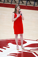 Stanford, CA - January 24, 2020: National Anthem at Maples Pavilion. The Stanford Cardinal defeated the Colorado Buffaloes in overtime, 76-68.