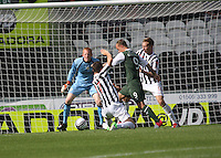 Leigh Griffiths makes space to score his second goal in the St Mirren v Hibernian Clydesdale Bank Scottish Premier League match played at St Mirren Park, Paisley on 18.8.12.