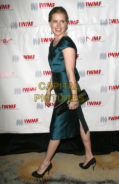 "AMY ADAMS.""IWMF"" International Women's Media Foundation Courage in Jounalism Awards held at the Beverly Hills Hotel, Beverly Hills, California, USA..October 16th, 2008.full length green blue teal dress silk satin bag clutch black shoes.CAP/ADM/KB.©Kevan Brooks/AdMedia/Capital Pictures."