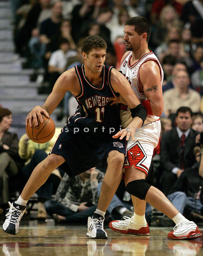 BROOK LOPEZ, of the New Jersey Nets  in action during the Nets game against the Chicago Bulls  at the United Center on April 4, 2009  in Chicago, IL .  The Bulls win 103-94.