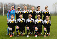 20141126 - TUBIZE , BELGIUM : Belgian Team pictured with Nicky Evrard (1) , Amber Maximus (9) , Margaux Van Ackere (8), Chloe Van De Velde (16) , Isabelle Iliano (6) , Petra Baldewijns (2) , Lola Wajnblum (18) , Elien Van Wynendaele (15) , Chloe van Mingeroet (11) , Jody Vangheluwe (17) and Taika De Koker (3) during the Friendly female soccer match between Women under 19 / 21  teams of  Belgium and Turkey .Wednesday 26th November 2014 . PHOTO DAVID CATRY