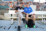 24 August 2013: Minnesota head coach Manny Lagos (left) with assistant coach Carl Craig (ENG) (right). The Carolina RailHawks played the Minnesota United FC Loons at WakeMed Stadium in Cary, NC in a 2013 North American Soccer League Fall Season game. Carolina won 1-0.