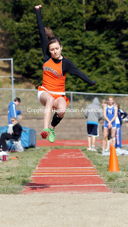 Woodbury, CT-10 April 2012-041012CM05- Terryville's Corie Scharpf competes in the long jump during a track meet against Nonnewaug and Kaynor Tech Tuesday afternoon in Woodbury.     Christopher Massa Republican-American