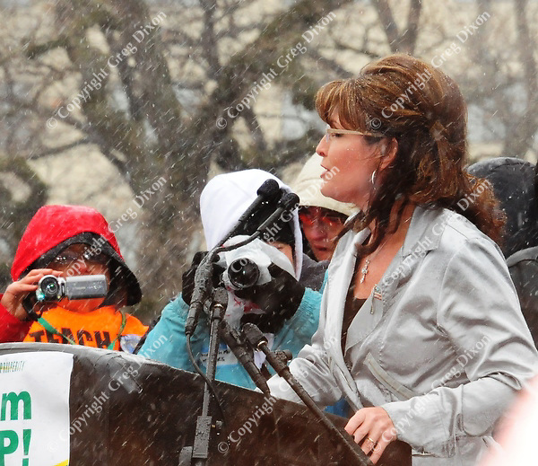 Sarah Palin addresses a Tea Party rally at the Madison State Capitol during the Dane County Farmer's Market at the Capitol Square on Saturday, April 16, 2011, in Madison, Wisconsin | Photo by Greg Dixon appeared in the 77 Square section of the Wisconsin State Journal with an article by Bill Novak and on-line at http://j.mp/eO1DW6
