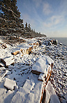 Snow and ice cover the granite rocks during winter along the coastline on the Schoodic Peninsula in Acadia National Park, Maine, USA