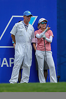 Ayako Uehara prepares to tee off the 1st tee during Round 3 at the ANA Inspiration, Mission Hills Country Club, Rancho Mirage, Calafornia, USA. {03/31/2018}.<br />