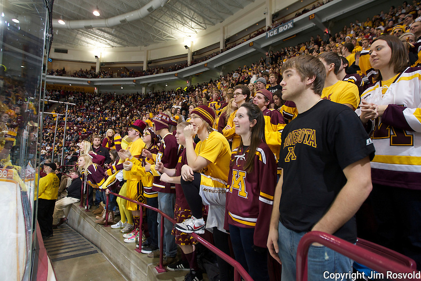 21 Jan 12: The Minnesota Golden Gophers host the Colorado College Tigers at Mariucci Arena in Minneapolis, MN. This game is part of Hockey Day Minnesota 2012.