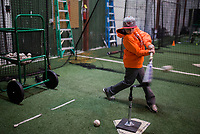 NWA Democrat-Gazette/CHARLIE KAIJO Cooper Mayhew 10 of Bella Vista practices batting on Sunday, January 7, 2018 at the R.B.I. Baseball Academy of NWA in Bentonville. The academy is raising money to pay for entry fees, uniforms and other expenses for four of their age specific baseball teams: 10u, 11u, 12u and 14u. Their goal is to sell 1000 racks of ribs and raise $5000 for each team. Head Country Bar-B-Q prepared racks of ribs and chickens for the fundraiser. They will continue to sell racks of ribs until they run out.