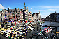 Belgium, Oost Vlaanderen, Ghent: View along the Graslei from Grasbrug