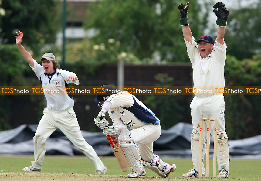 Upminster wicket keeper Mark Squibb appeals for the wicket of Robert Marshall of Woodford Wells - Upminster CC vs Woodford Wells CC - Essex Cricket League - 06/06/09 - MANDATORY CREDIT: Gavin Ellis/TGSPHOTO - Self billing applies where appropriate - 0845 094 6026 - contact@tgsphoto.co.uk - NO UNPAID USE.