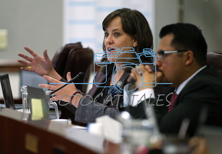 Assembly Democrats Amber Joiner and Edgar Flores work in committee at the Legislative Building in Carson City, Nev., on Wednesday, April 29, 2015. <br /> Photo by Cathleen Allison
