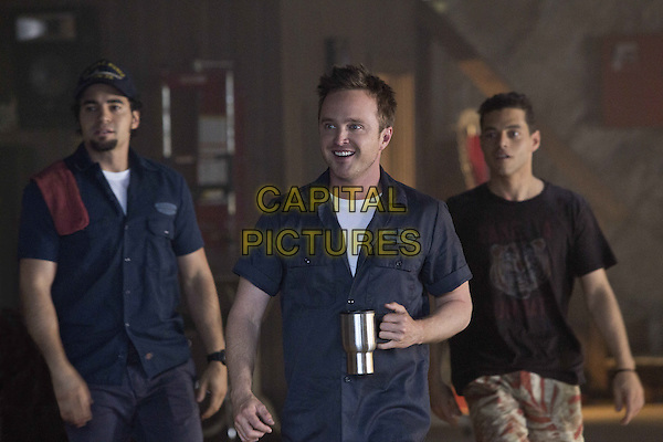 Rami Malek, Aaron Paul, Ramon Rodriguez<br /> in Need for Speed (2014) <br /> (BTS, EPK reference, MSG-select, _scene 266, check)<br /> *Filmstill - Editorial Use Only*<br /> CAP/NFS<br /> Image supplied by Capital Pictures