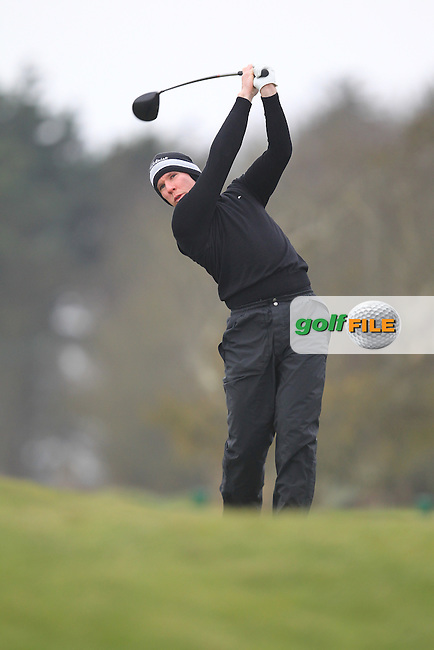 Brian Flood (ST. Annes) on the 1st teeing off in the Hilary golf society in Co Louth Golf Club 24/3/13.Picture: Fran Caffrey / www.golffile.ie ..