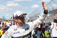 March 20, 2016: Jenson Button (GBR) #22 from the McLaren Honda Formula 1 team at the drivers' parade prior to the 2016 Australian Formula One Grand Prix at Albert Park, Melbourne, Australia. Photo Sydney Low