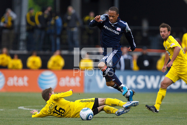 8 MAY 2010: Brian Carroll of the Columbus Crew (16) and New England Revolutions' Khano Smith (7) during MLS soccer game between New England Revolution vs Columbus Crew at Crew Stadium in Columbus, Ohio on May 8, 2010. The Columbus defeated New England 3-2.