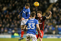 Blackburn Rovers' Richard Smallwood competing in the air with Portsmouth's Conor Chaplin <br /> <br /> Photographer Andrew Kearns/CameraSport<br /> <br /> The EFL Sky Bet League One - Portsmouth v Blackburn Rovers - Tuesday 13th February 2018 - Fratton Park - Portsmouth<br /> <br /> World Copyright &copy; 2018 CameraSport. All rights reserved. 43 Linden Ave. Countesthorpe. Leicester. England. LE8 5PG - Tel: +44 (0) 116 277 4147 - admin@camerasport.com - www.camerasport.com