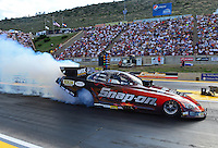 Jul, 20, 2012; Morrison, CO, USA: NHRA funny car driver Cruz Pedregon during qualifying for the Mile High Nationals at Bandimere Speedway. Mandatory Credit: Mark J. Rebilas-US PRESSWIRE
