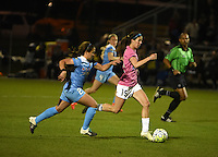 Kansas City, MO - Friday May 13, 2016: Chicago Red Stars midfielder Danielle Colaprico (24) against FC Kansas City midfielder Erika Tymrak (15) during a regular season National Women's Soccer League (NWSL) match at Swope Soccer Village. The match ended 0-0.