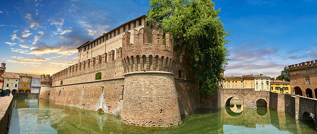 Picture & image of the exterior of the late medieval (13th century) moated urban castle reisdence of Rocca Sanvitale ( Sanvitale Castle ),  Fontanellato, Italy
