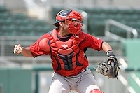 Boston Red Sox catcher Alixon Suarez (25) during an Instructional League game against the Minnesota Twins on September 26, 2014 at jetBlue Park at Fenway South in Fort Myers, Florida.  (Mike Janes/Four Seam Images)