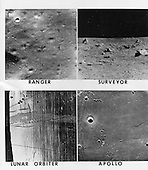 On June 11, 1969 NASA announced it had selected Site #2 on the Moon, 23 degrees, 37 minutes East longitude, zero degrees, 45 seconds North latitude, for the first manned landing.  Apollo 11 Astronauts Neil Armstrong and Edwin Aldrin will walk on the surface while Michael Collins orbits the Moon in the command module.<br /> <br /> Surveyor V - soft landed at 23 degrees, 19 minutes east, 1 degree, 5 minutes North, transmitted back to Earth this photo of the surrounding area.<br /> <br /> Lunar Orbiter V - photographed site 2 from an altitude of 59 miles.  The large patterned line across the picture occured when the film was developed aboard the Lunar Orbiter spacecraft. A bimat web, carrying chemicals to develop the film, temporarily stuck to the film and pulled away part of the emulsion.<br /> <br /> Ranger VIII - which impacted at 24 degrees, 37 minutes East, by 2 degrees, 6 minutes North took this photo of the area from an altitude of 5.1 miles.<br /> <br /> Apollo 10 - during its orbits of the Moon produced this near vertical photo of Site #2.  The proposed landing area for Apollo 11 is a relatively smooth maria area in the upper right quadrant of the photographed area in the Sea of Tranquillity.<br /> <br /> Credit: NASA via CNP
