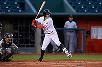 Lansing Lugnuts second baseman Nick Podkul (3) during a Midwest League game against the Wisconsin Timber Rattlers at Cooley Law School Stadium on May 1, 2019 in Lansing, Michigan. Wisconsin defeated Lansing 2-1 in the second game of a doubleheader. (Zachary Lucy/Four Seam Images)