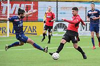 WINKEL SPORT - SK RONSE :<br /> vliegende tackle van Alexandre Frutos (L) op Felix Reuse (R)<br /> <br /> Foto VDB / Bart Vandenbroucke