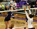 SIOUX FALLS, SD - OCTOBER 4:  Jordan Calef #3 from the University of Sioux Falls looks to get a kill past Shaunessy Dauwalder #10  from Minot State during their game Saturday afternoon at the Stewart Center. (Photo/Dave Eggen/Inertia)