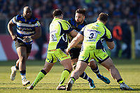 Elliott Stooke of Bath Rugby takes on the Sale Sharks defence. Aviva Premiership match, between Bath Rugby and Sale Sharks on February 24, 2018 at the Recreation Ground in Bath, England. Photo by: Patrick Khachfe / Onside Images