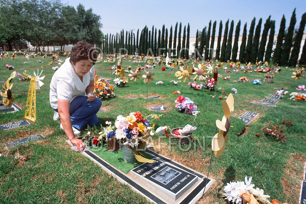 September 1984, Gardena, CA. Pet Haven Cemetery of Gardena, CA, where more than 25.000 family pets lie buried, is the most famous animal cemetery in LA. Founded in 1948, this cemetery enables bereaved familys to mourn the death of their pets and to give them the burial they deserve. No expenses spared even $485 is spent on a dog service including flowers and grave stones marble and satin lined coffins. mantenimiento