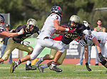 Palos Verdes, CA 11/03/17 - Justin Booth (Palos Verdes #56), Will Boss (Palos Verdes #3) and Jared Patterson (Peninsula #36) and \p56\ in action during the Palos Verdes vs Palos Verdes Peninsula CIF Varsity football game at Peninsula High School for the battle of the hill.
