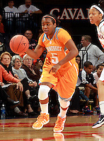 CHARLOTTESVILLE, VA- NOVEMBER 20: Ariel Massengale #5 of the Tennessee Lady Volunteers handles the ball  during the game on November 20, 2011 against the Virginia Cavaliers at the John Paul Jones Arena in Charlottesville, Virginia. Virginia defeated Tennessee in overtime 69-64. (Photo by Andrew Shurtleff/Getty Images) *** Local Caption *** Ariel Massengale