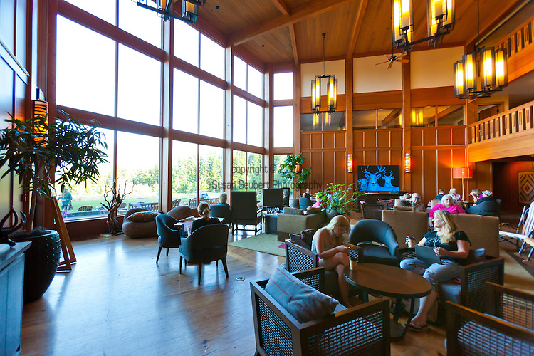 The Gorge Room in Skamania Lodge located in Washington's Columbia River Gorge offers floor to ceiling windows with views of  the Gorge and the Columbia RIver