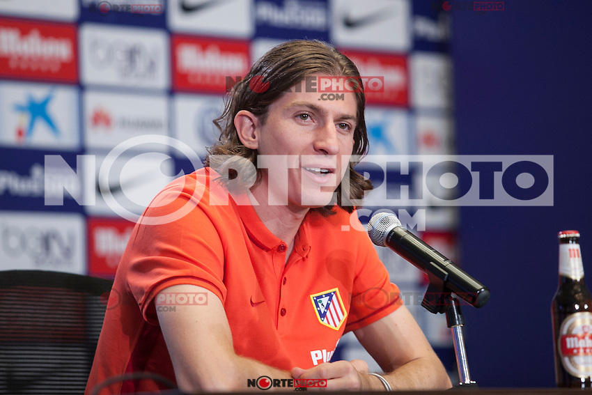 Atletico de Madrid's new Brazilian football player Filipe Luis Kasmirski attends a press conference during his presentation at Vicente Calderon stadium in Madrid, Spain. July 29, 2015. (ALTERPHOTOS/Victor Blanco) /NortePhoto
