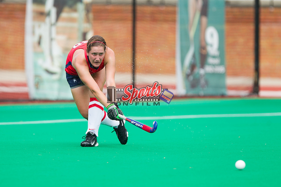 Allison Haas (20) of the Richmond Spiders passes the ball during overtime against the Wake Forest Demon Deacons at Kentner Stadium on September 29, 2013 in Winston-Salem, North Carolina.  The Demon Deacons defeated the Spiders 1-0 in overtime.  (Brian Westerholt/Sports On Film)