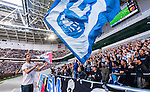 Stockholm 2014-08-31 Fotboll Allsvenskan Djurg&aring;rdens IF - Malm&ouml; FF :  <br /> Malm&ouml;s supportrar med en flagga i Tele2 Arena <br /> (Foto: Kenta J&ouml;nsson) Nyckelord:  Djurg&aring;rden DIF Tele2 Arena Malm&ouml; MFF supporter fans publik supporters inomhus interi&ouml;r interior