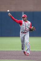 Indiana Hoosiers shortstop Jeremy Houston (1) makes a throw to first base against the Michigan Wolverines during the NCAA baseball game on April 21, 2017 at Ray Fisher Stadium in Ann Arbor, Michigan. Indiana defeated Michigan 1-0. (Andrew Woolley/Four Seam Images)