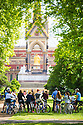 18/06/14 <br /> <br /> <br /> A bicycle tour group takes a moment to take in the sights of the Prince Albert monument and Royal Albert Hall in Hyde Park London.<br /> <br /> All Rights Reserved - F Stop Press. www.fstoppress.com. Tel: +44 (0)1335 300098