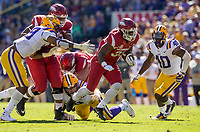 NWA Democrat-Gazette/BEN GOFF @NWABENGOFF<br /> David Williams, Arkansas running back, carries in the second quarter Saturday, Nov. 11, 2017 at Tiger Stadium in Baton Rouge, La.