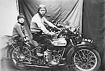 Two brothers riding on Harley(single engine) in 1930s.