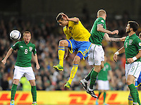 6th September 2013; Mikael Lustig, Sweden, in action against James McClean, Ireland. 2014 FIFA World Cup Qualifier, Group C,  Republic of Ireland v Sweden, Aviva Stadium, Dublin. Picture credit: Tommy Grealy/actionshots.ie.